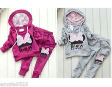 2pcs/set Kids Baby Girls Long Sleeve hooded coat + Pants Clothes Outfits Suits