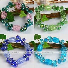Crystal Glass Faceted Gemstone Bead Stretchy Bracelet Bangle Women Jewelry Gift