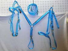 Pony Horse Nylon Set Bridle Headstall Reins Noseband Tie Down Breast Collar asst