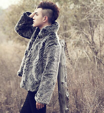 Mens Stand Collar Long Fur Coats Jackets Long Loose Casual Outwears Plus Size