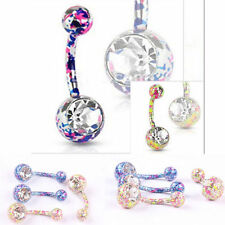 Navel Belly Rings 316 Surgical Steel Mix Color Crystal Body Piercing Jewelry 1pc
