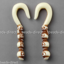 Pair Resin 2G 0G Skull Totem Aboriginal Ear Tapers Stretcher Plugs Expander Punk