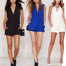 New Womens Ladies Black/Blue/White Sexy V-Neck Blazer Vest Jumpsuits Shorts