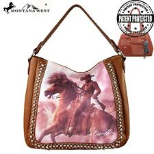 Montana West Concealed Handgun HandBag Purse & Wallet Cowboy Horse Brown Black