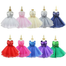 Girl shiny Sequined Dress Bow Party Prom Wedding Pageant Bridesmaid Flower girl