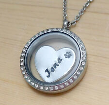 Personalized Name Engraving Floating Charms Locket Stainless Steel Necklace LOVE