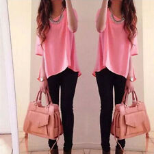 Fashion Womens Short Sleeve Loose Summer Blouses T Shirt Tops Blouse Size 6-14