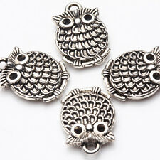 5/20Pcs Tibetan Silver Silver Plated Hollow Out Carved  Owl Charms Pendants