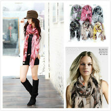 New Fashion Woman Thin viole Long Begonia Soft ink wash Shawl Neck Scarf Wrap