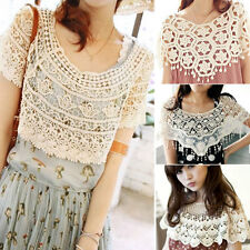 Womens Vintage Lace Hollow Out Crochet Knitted Cape Shawl Tank Top Vest Jumper