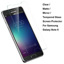 New Tempered Glass/Clear/Matte/Mirror Screen Protector For Samsung Galaxy Note 5