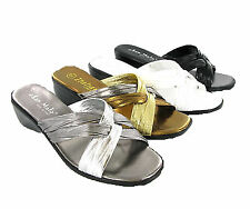 New Womens Italian Cross Over Wedge Mules Casual Evening Sandals Shoes Size 3-8