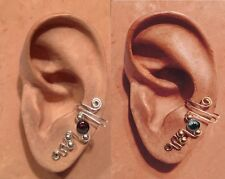 HANDMADE STERLING S OR 14KGF WIRE WRAPPED EAR IVY HALF CUFF SEMI PRECIOUS BEADS