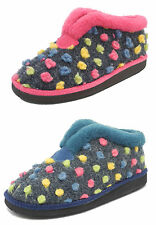 Womens Ladies Lightweight Fur Knitted Boots Bootie Slippers Sleepers Sizes 3-8