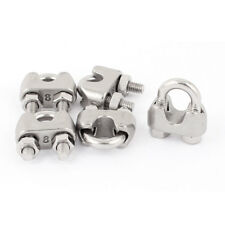 "8mm 5/16"" Stainless Steel Wire Rope Cable Clamp Clips 5pcs"