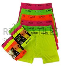6 Pairs Men's Neon Boxer Shorts, Designer Bright Cotton Rich Underwear, S M L XL