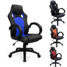 SPORTS RACING GAMING OFFICE COMPUTER PU LEATHER LUXURY CHAIR - SWIVEL ADJUSTABLE