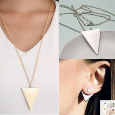 Retro Celebrity Triangle Pendant Long Chain Necklace Earring Geometry Jewelry