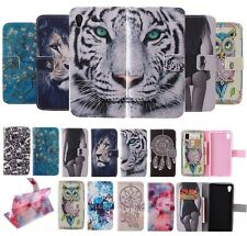 Patterned Magnetic Wallet Flip Card Holder Leather Cover Case For Various Phone