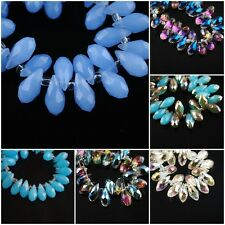 20Pcs Charms Faceted Glass Crystal Teardrop Pendant Loose  Beads 6x12mm