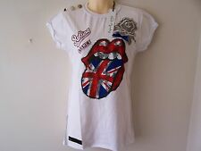 NEW AMPLIFIED / ELEGANTLY WAISTED ROLLING STONES WHITE T SHIRT SIZE 6-8 XS