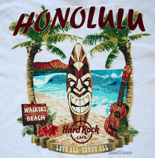 2013 HARD ROCK CAFE WAIKIKI BEACH TIKI SURFBOARD HONOLULU HAWAII CITY TEE SHIRT