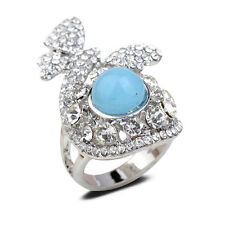 18K White Gold Plated Blue Jade Butterfly Finger Ring Jewelry CZ Rhinestone