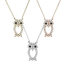 925 Sterling Silver 0.70 Carat CZ Owl Pendant and Necklace (Choose Color)