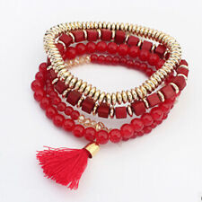 Fashion Jewelry Bohemian Multilayer Tassels Sweet Beads Bangle Cuff Bracelet