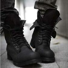 Men's Retro Combat boots Winter England-style fashionable short Black shoes Size
