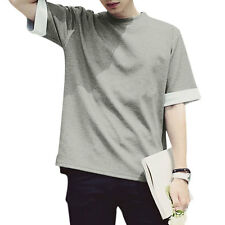 Men Round Neck Short Sleeves Panled Cuffs Casual T-Shirts
