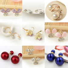 1Pcs Faux Pearl Crystal Rhinestone Alloy Mixed Ear Stud Fashion Jewelry Earring