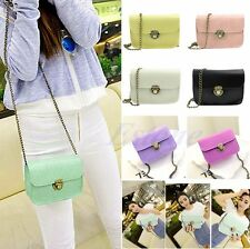 Women Lady Candy Messenger Bag PU Leather Crossbody Satchel Shoulder Handbags