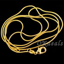 1.2mm Lots 5PCS SALE Gold Plated Yellow Snake Chain Necklace Jewelry 16-30""