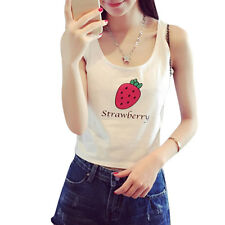 Woman Strawberry Letters Prints Scoop Neck Sleeveless Crop Top