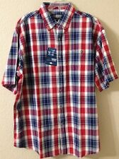 Nwt Mens Button Up Ss Plaid Shirt Red Blue Sz L, XL Canyon Guide Outfitters