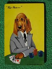 "Constance Depler Art Swap Card Poker Playing Hound Dog ""Four Aces"" Vintage MINT"