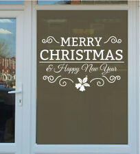 CHRISTMAS NEW YEAR WALL STICKER merry vinyl decal holly window bell  shop xmas