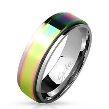 Stainless Steel Rainbow Center Spinning Band Ring Size 5-13