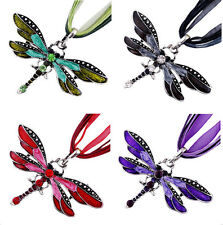 Classic Dragonfly Charms Pendent Necklace With Chain Rhinestone Inlay Gemtone