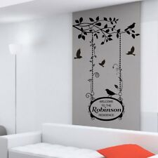 FLORAL BIRDS WALL STICKERS personalised vinyl decal branch tree flower art love