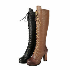 Women's Shoes Real Leather High Block Heels Zip Lace Up Knee Boots AU Size b280