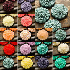 4pcs 23x23mm Vintage Flatback Flowers Cameo Resin Cabochons Jewelry Findings
