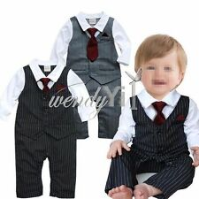 One Piece Baby Boys Gentleman Formal Suit Tuxedo Romper Outfit Clothes Set 3-24M