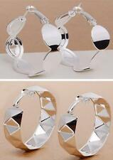 Silver Hoop Smooth Round Earring Cuff Free Shipping Dangle Gift