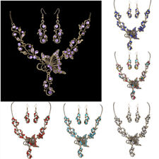 Vintage Butterfly Crystal Rhinestone Bridal Necklace Earrings Set Women Jewelry