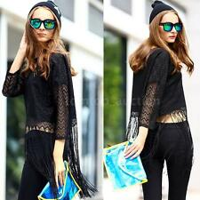 Sexy Womens Lace Long Tassel Hollow Out 3/4 Sleeve Casual Tops Shirt Blouse 80OA