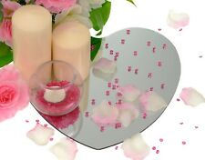 LOVE HEART GLASS MIRRORS MIRROR PLATES WEDDING TABLE DECORATION CENTRE PIECE