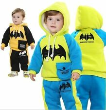 2PC Kid baby boys winter clothes cotton with fleece top+pants outfits&set batman