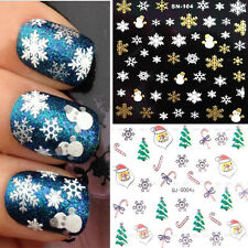 3D Christmas Snowflakes Snowman Manicure Tips Nail Art DIY Stickers Decals Xmas